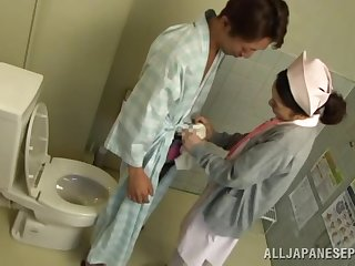 Sweet Japanese watch over drops their way panties to have a quickie with a patient