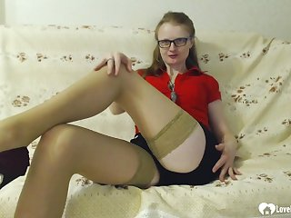 After she shows wanting her sexy legs everywhere stockings, she'll masturbate with a dildo