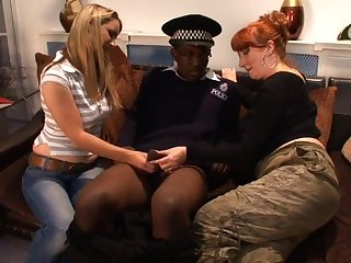 Black cop gets his dick pleasured by dirty Annabelle plus Red