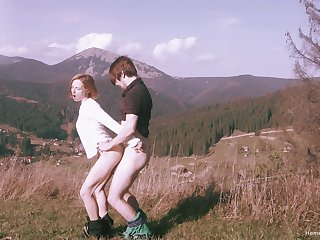 Off one's chump alfresco sexual fun with a pretty slutty redhead