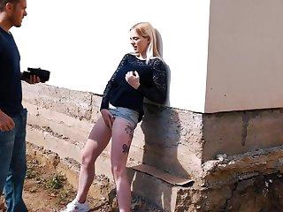 Hardcore outdoors fucking with amateur blonde unfamiliar Tereza