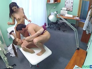 Hot nurse joins couple hither threesome