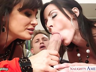 Lesbian cougars Lisa Ann and Kendra Lust invite young man for threesome sex