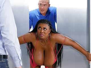 Stuck huge-chested clouded screwed stiff by custodian